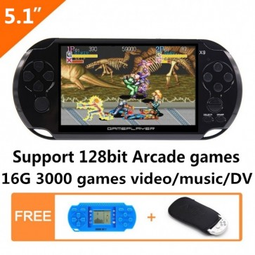 5.1 Inch LCD Screen 16GB 128Bit Retro Handheld Game Console Built-in 3000 No-Repeat Games Support Arcade NEOGEO/CPS/FC/NES/SFC/SNES/GB/GBC/GBA/SMC/SMD/SEGA with MP4 MP5 Function