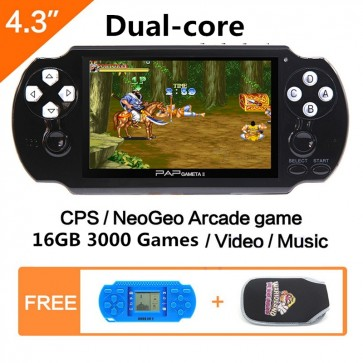 Double rocker Dual core 4.3'' 16GB 64Bit Handheld Game Console Video Game Console Mp5 Built-in 3000 Games for CPS/NEOGEO/SNES/MD/NES/SMS