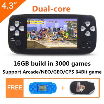Dual-core 4.3 inch screen 16GB 64Bit Handheld Video Game Console build in 3000 no-repeat game for NEOGEO\CPS\GBA\GBC\GB\SFC\FC\MD\GG\SMS MP3/4