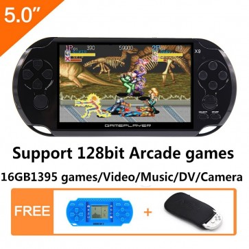 5 Inch LCD Screen 16GB 128Bit Retro Handheld Game Console Built-in 1395 No-Repeat Games Support Arcade NEOGEO/CPS/FC/NES/SFC/SNES/GB/GBC/GBA/SMC/SMD/SEGA with MP4 MP5 Function