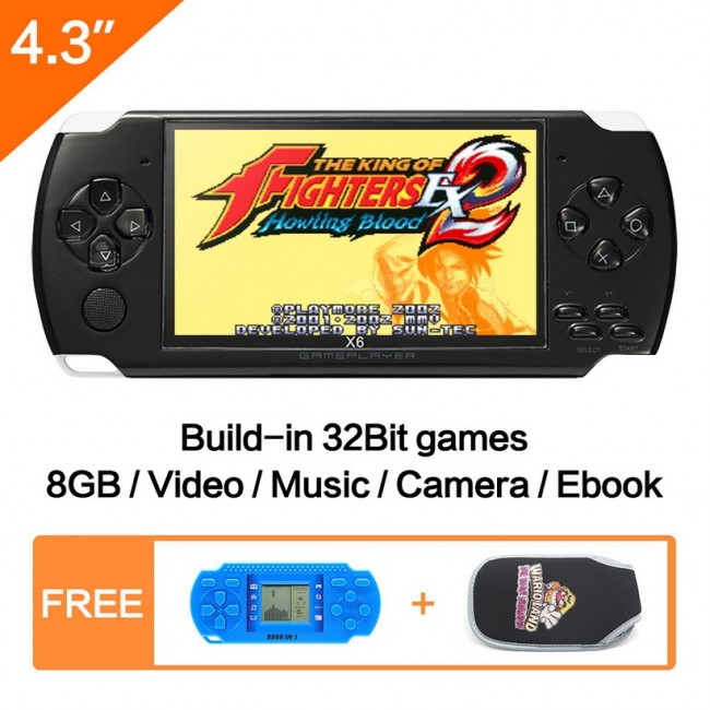 4 3 inch Handheld Game Console 8Gb With Mp4 Mp5 Function Video Game Built  In 1200+Real No-repeat for GBA/GBC/SFC/FC/SMD Games