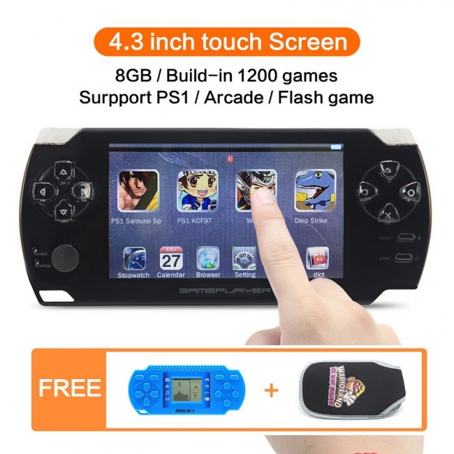 8GB 4 3 inch Touch Screen Handheld Video Game Console Build in 1200  No-repeat game for PS1/Arcad/Flash/GBA/FC/gGBC/SMD/SFC