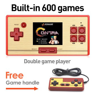 Classic FC Pocket Retro Video Game Console 2.6 Inch Screen Built -in 472 Games with Game Card 128 Games Support AV Cable Output
