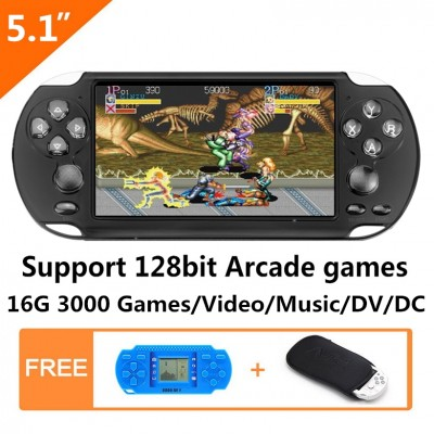 5.1 Inch 16GB double joystick 128Bit video game console Built-in 3000 No-Repeat Games with MP4 MP5 function support arcade neogeo/cps/gba/gbc/gb/sfc/fc/sega game