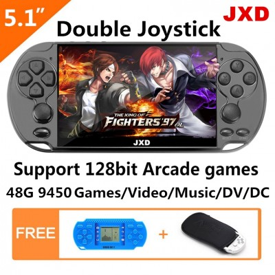 JXD new 5.1 Inch 48GB double joystick 128Bit video game console Built-in 94500 No-Repeat Games support arcade neogeo/cps/gba/gbc/gb/sfc/fc/sega game with MP4 MP5 Function