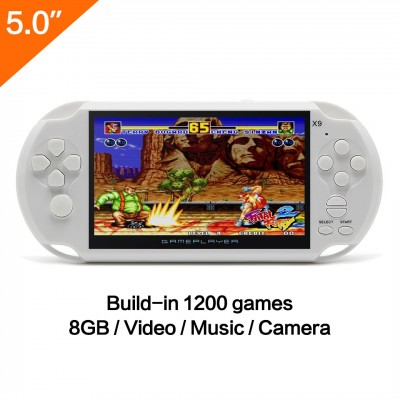 5 Inch LCD Screen 8GB 32Bit Retro Handheld Game Console Built-in 1200+No-Repeat Games with MP4 MP5 Function Support FC/NES,SFC/SNES/GB/GBC/GBA/SMC/SMD/SEGA