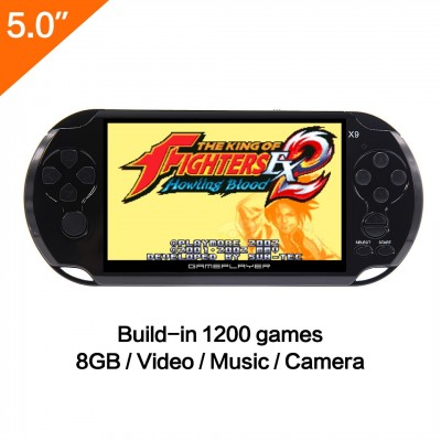5 Inch LCD Screen 16GB 128Bit Retro Handheld Game Console Built-in 1395 No-Repeat Games with MP4 MP5 Function Support FC/NES,SFC/SNES/GB/GBC/GBA/SMC/SMD/SEGA