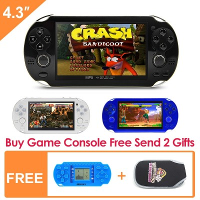 Double rocker 4.3 Inch 8GB Handheld Game Console build in 1200+no-repeat games Video Game Console Support Arcade NEO/GEO/CPS/FC/NES/SFC/SNES/GB/GBC/GBA/SMC/SMD/SEGA Games MP3 MP5 Player