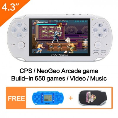16GB 64Bit Handheld Game Console 4.3'' Video Game Console Mp5 Built-in 3000 Games for CPS/NEOGEO/SNES/MD/NES/SMS